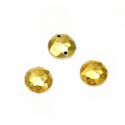 Acrylic stone for sewing 10mm round faceted, color gold - 50 pieces
