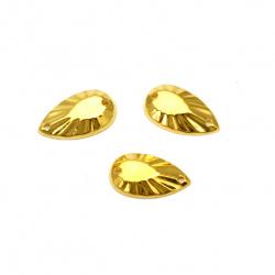 Piatra acrilica pentru cusut 8x13 mm drop auriu fatetat de culoare aurie - 25 bucati