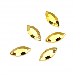 Piatra acrilica pentru cusut foi de aur de 6x15 mm - 50 bucati
