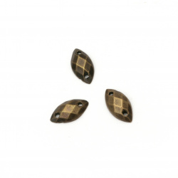 Acrylic stone for sewing 5x10 mm leaf faceted bronze color - 50 pieces