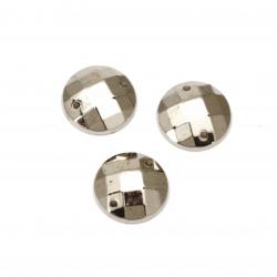 Piatra acrilica pentru cusut rotunda de 12 mm culoare fatetata argintie -25 bucati