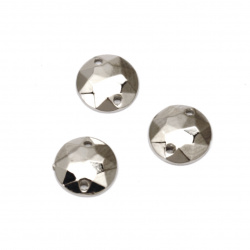 Acrylic stone for sewing 10 mm round faceted, color silver - 50 pieces