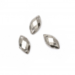 Acrylic stone for sewing 5x10 mm leaf faceted, color silver - 50 pieces