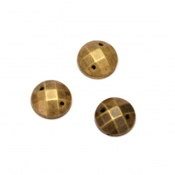 Acrylic stone for sewing 10 mm round faceted color antique bronze - 50 pieces