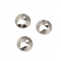 Acrylic stone for sewing 12 mm round faceted color silver - 25 pieces