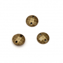 Acrylic stone for sewing 8 mm round faceted bronze color - 50 pieces