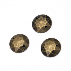 Acrylic stone for sewing 12 mm round faceted color antique bronze - 25 pieces
