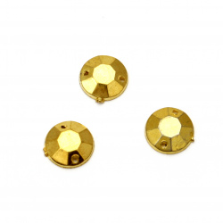Acrylic stone for sewing10mm round faceted color gold - 50 pieces