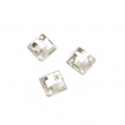 Acrylic stone for sewing 8x8 mm square transparent faceted - 50 pieces
