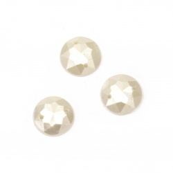 Bead hemisphere for sewing 12 mm faceted color cream - 25 pieces