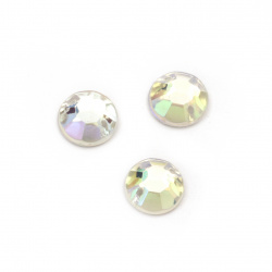 Acrylic stone for sewing 10 mm round transparent rainbow faceted - 25 pieces