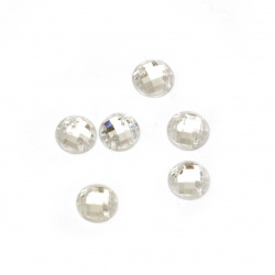Acrylic stone for sewing 6 mm round white transparent faceted, extra quality - 50 pieces