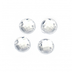 Acrylic stone for sewing 9 mm round white transparent faceted, extra quality - 50 pieces