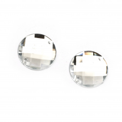 Acrylic stone for sewing 22 mm round white transparent faceted, extra quality - 10 pieces