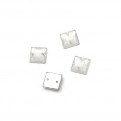 Acrylic stone for sewing 8x8x3 mm square transparent milky white, faceted - 50 pieces