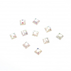 Acrylic stone for sewing 6x6 mm white square  transparent rainbow, faceted - 50 pieces