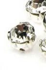 Камък за пришиване с метална основа 4.5 мм екстра качество бял -25 броя