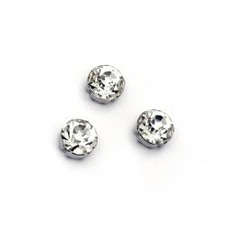 Камък за пришиване с метална основа 10 мм екстра качество бял -5 броя
