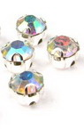 Sewing stone with metal base 5x5 mm quality AA color rainbow -10 pieces