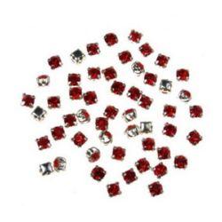 Piatra de cusut cu bază metalică 3x3 mm gaură 1 mm roșu de calitate suplimentară - 20 bucăți