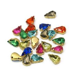 Acrylic Stone for sewing with metal base, color gold 6x10x5 mm hole 1 mm, drop mix - 10 pieces