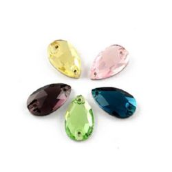 Glass Sewing Stone 18x10.5x4 mm hole 1 mm drop transparent facetted assorted color