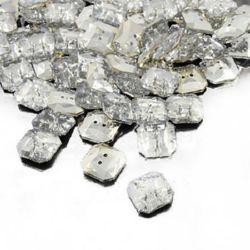 Nasture acrilic 13x13x4 mm orificiu 1 mm argintiu -20 bucăți