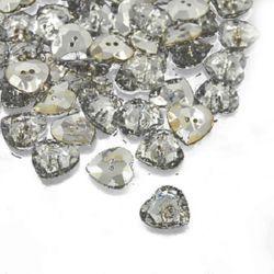 Nasture acrilic 17x17x5,5 mm orificiu 1 mm argintiu -10 bucăți