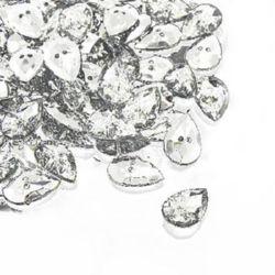 Nasture acrilic 14x20x5 mm orificiu 1 mm argintiu -10 bucăți
