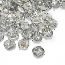 Nasture acrilic 12x12x4,5 mm orificiu 1 mm argintiu -20 bucăți