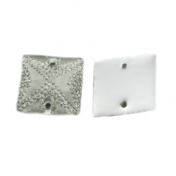 Sew On Acrylic Rhinestone, DIY Clothes, Decoration 20 mm square white with stones rough - 5 pieces