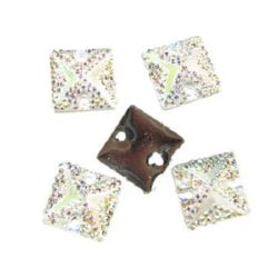 Sew On Acrylic Rhinestone, DIY Clothes, Decoration12 mm square arc with rough stones - 10 pieces