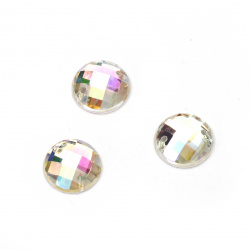 Sew On Acrylic Rhinestone, DIY Clothes, Decoration 12 mm round white transparent faceted arc - 25 pieces