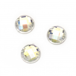 Sew On Acrylic Rhinestone, DIY Clothes, Decoration14 mm round white transparent arc faceted -10 pieces