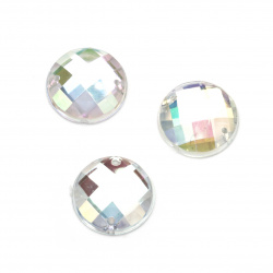 Sew On Acrylic Rhinestone, DIY Clothes, Decoration16 mm round white transparent arc faceted -10 pieces