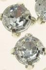 Piatra de cusut cu baza metalica 6x5 mm gaura 1,5 mm calitate AA culoare alb - 10 bucati