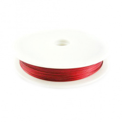 Steel Cord, Jewelry DIY Making 0.38 mm color red -50 meters