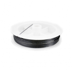 Steel Cord, Jewelry DIY Making 0.50 mm color black -50 meters