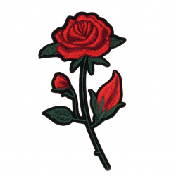 Fabric Sticker 80x140 mm Embroidered rose