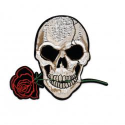 Апликация лепяща 100x90 мм череп с роза