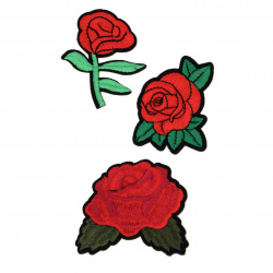 Fabric Stickers 55~75 mm Embroidered mixed roses - 3 pieces