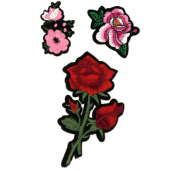Fabric Stickers  35~115 mm Embroidered mixed flowers - 3 pieces