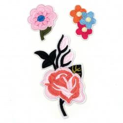 Θερμοκολλητικά μοτίφ ρούχων 40 ~ 115 mm 3 κομμάτια λουλούδια