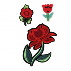 Fabric Stickers  30~110 mm Embroidered mixed flowers - 3 pieces