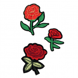 Fabric Stickers  30~60 mm Embroidered mixed roses - 3 pieces