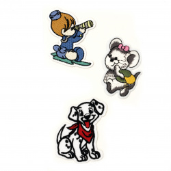 Fabric Stickers  55~65 mm Embroidered sailor/mouse/ dog - 3 pieces