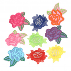Fabric Stickers  Rose with assorted leaves