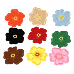 Fabric Stickers  80x80 mm Assorted flower color