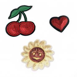 Апликации лепящи 3 броя 45~80 мм череши сърце слънце с пайети