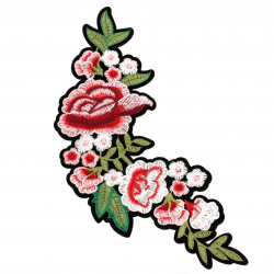 Fabric Sticker  165~240 mm Embroidered pink roses